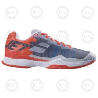 INNER ASPECT OF BABOLAT JET MACH I SILVER RED TENNIS SHOE