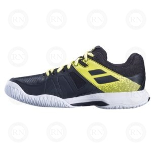 BABOLAT PULSION ALL COURT MENS TENNIS SHOES BLACK YELLOW INNER ASPECT