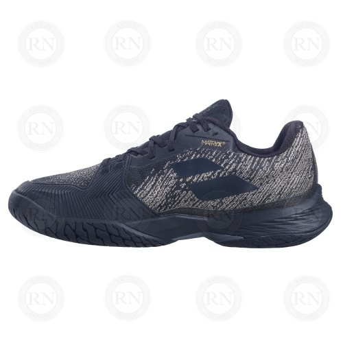 Catalog image of Babolat Jet Mach 3 All Court Tennis Shoe Black Gold Exteri Aspect