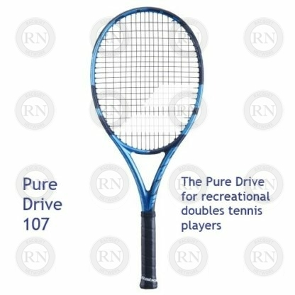 Catalog image of Babolat Pure Drive 107 tennis racquet with supporting text.