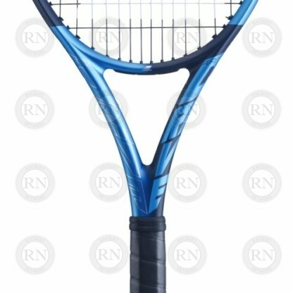 Close up of the throat of a Babolat Pure Drive 107 tennis racquet