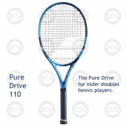 Catalog image of a Babolat Pure Drive 110 tennis racquet with supporting text
