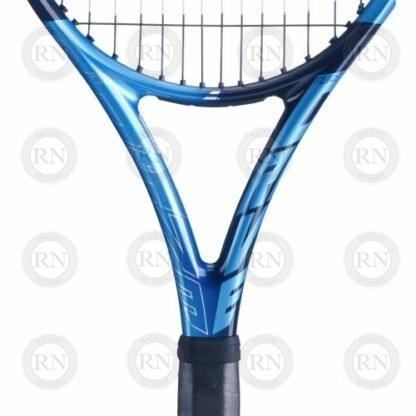 Closeup of the throat of a Babolat Pure Drive 110 tennis racquet