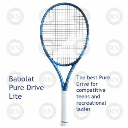 Catalog image of a Babolat Pure Drive Light tennis racquet with supporting text