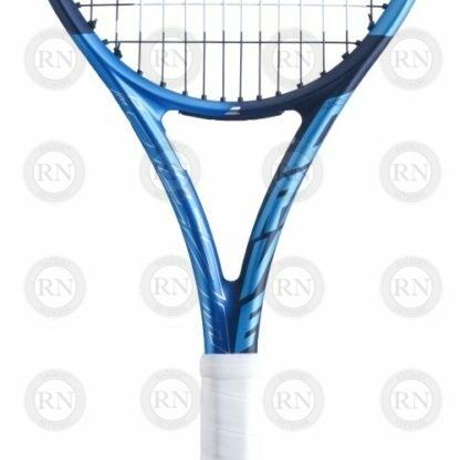 Closeup of the throat of a Babolat Pure Drive Lite tennis racquet