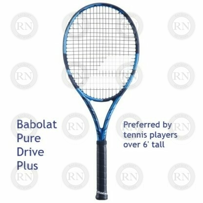 Catalog image of a Babolat Pure Drive Plus tennis racquet with supporting text