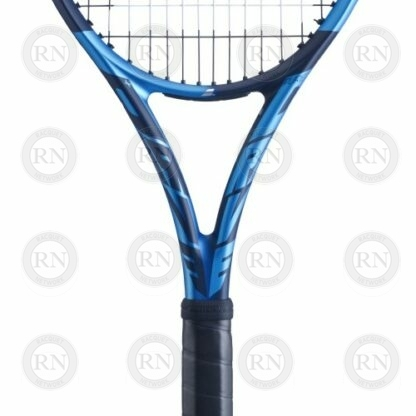 Catolog image of Babolat Pure Drive Plus tennis racquet showing closeup of the throat
