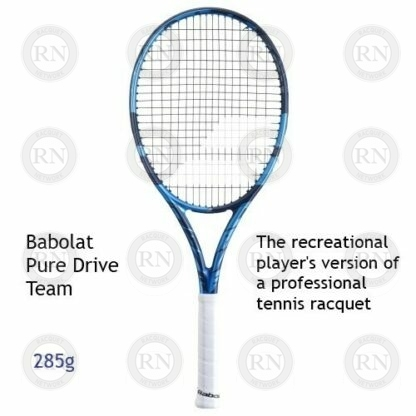 Catalog image of a Babolat Pure Drive Team tennis racquet with supporting text.