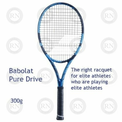 Catalog image of a Babolat Pure Drive tennis racquet with supporting text