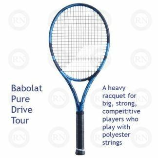Catalog image of a Babolat Pure Drive Tour tennis racquet with supporting text