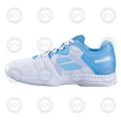 Product Knock Out: Babolat SFX3 Ladies Tennis Shoe - White Blue - Outer Aspect
