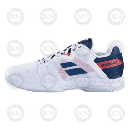 Product Knock Out: Babolat SFX3 Tennis Shoe - White Blue - Outer Aspect