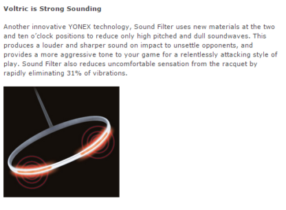 YONEX SOUND FILTER DESCRIPTION