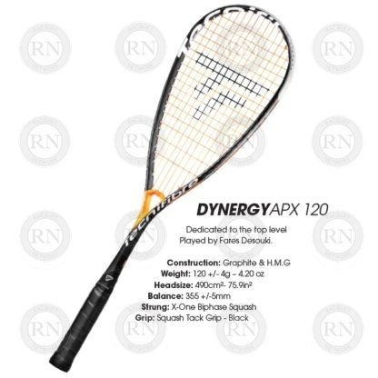 Product Specifications: Tecnifibre Dynergy APX 120 Squash Racquet Specifications