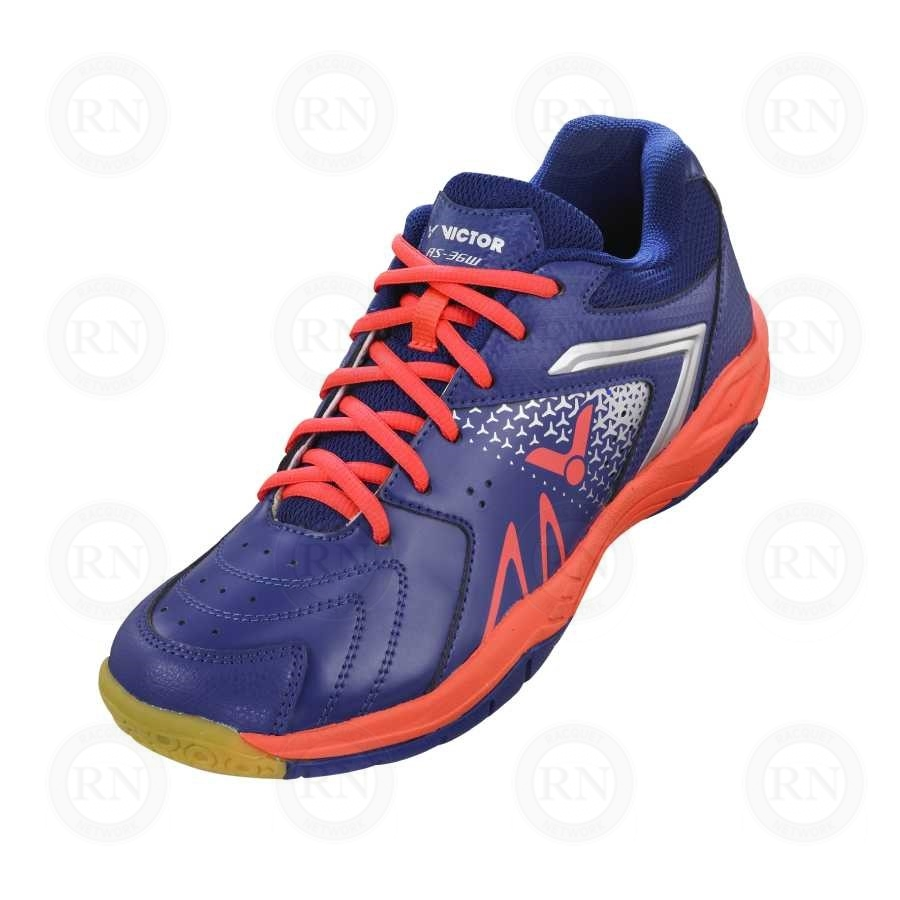 1be22e70ffb29 Product Knock Out: Victor AS36 Extra-Wide Badminton Shoe Blue Orange Upper