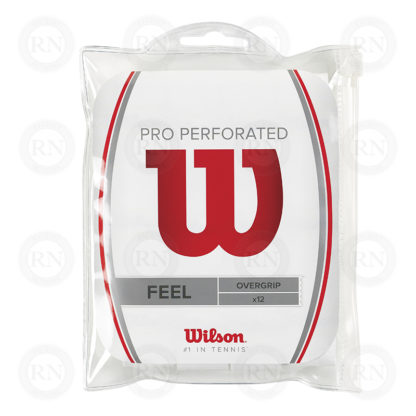 WILSON PRO OVERGRIP PERFORATED 12 PACK WHITE TENNIS GRIP