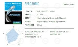 Yonex Aerosonic Badminton String Summary Chart