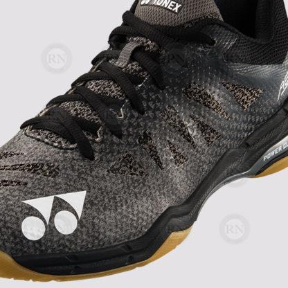 Yonex Aerus 3R Badminton Shoe - Black - Close up of shoe detail.