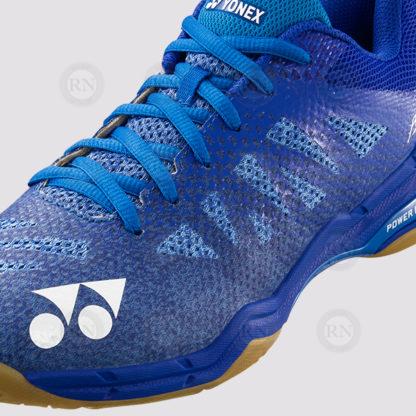 Yonex Aerus 3R Blue. Close up of shoe detail.
