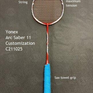 Catalog image of a fully customized Yonex Arc Saber 11 badminton racquet